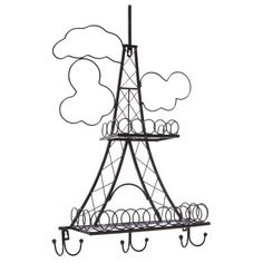 Decorative Stylish Black Metal Eiffel Tower Design Wall Mounted Rack MyGift http://www.amazon.com/dp/B00HHK0MOU/ref=cm_sw_r_pi_dp_CB.sub003HK5V