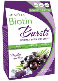 NeoCell Biotin Burst Chews, promotes hair, skin, and nail growth. Find it at the Vitamin Shoppe online store!