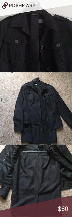 Black Calvin Klein Suit Black denim looking  Calvin Klein Suit with skirt jacket and belt. Calvin Klein Jackets & Coats Blazers
