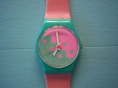 Vintage Pink Swatch Watch. I HAD THIS WATCH!