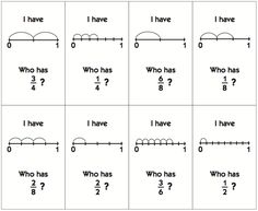 """I Have, Who Has"" fractions on a number line game. Free!         CCSS.Math.Content.3.NF.A.1      CCSS.Math.Content.3.NF.A.2      CCSS.Math.Content.3.NF.A.3"