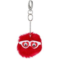 TOPSHOP Love Eyes Fluffy Keyring ($12) ❤ liked on Polyvore featuring accessories, red, heart key ring, key ring ve topshop