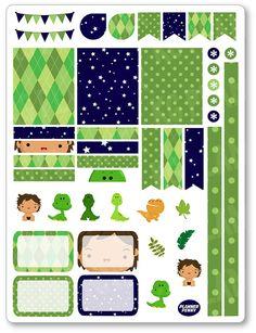 Dinosaur Friends Decorating Kit / Weekly Spread Planner Stickers for Erin Condren Planner, Filofax, Plum Paper