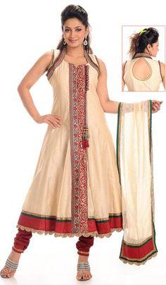 G3 Fashions Cream Maroon Silk Wedding Wear Designer Salwar Suit  Product Code : G3-LSA104644 Price : INR RS 6150