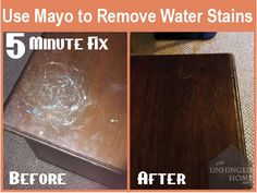 Using Mayo to Remove Water Stains on Wood.If you find watermarks on stained wood, apply a coating of mayonnaise on the spot and then cover with a paper towel. Let it sit for about ten minutes and then wipe off. House Cleaning Tips, Diy Cleaning Products, Cleaning Solutions, Cleaning Hacks, Water Stain On Wood, White Wood Stain, Remove Water Stains, Patons Classic Wool, Scratched Wood