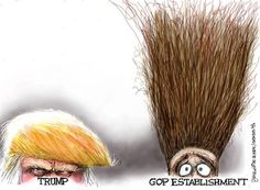 Editorial cartoon on Donald Trump and GOP and political establishment