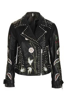 **Embroidered Leather Jacket - Jackets & Coats - Clothing - Topshop USA