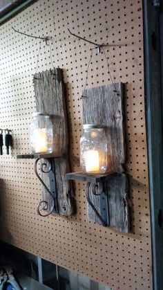 Open Box (never used) - Handmade out of reclaimed wood and metal. Battery powered led candles inside new Mason jars. Beautiful addition to your home!