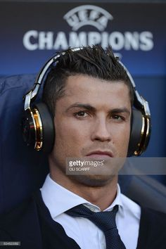 Real Madrid's Portuguese forward Cristiano Ronaldo sits in the dug-out ahead of kick off of the UEFA Champions League semi-final first leg football match between Manchester City and Real Madrid at the Etihad Stadium in Manchester, northwest England, on April 26, 2016. Real Madrid superstar Cristiano Ronaldo was unexpectedly left out of the squad for his side's Champions League semi-final first leg at Manchester City on April 26. Ronaldo was declared fit by head coach Zinedine Zidane on…