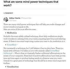 What are some mind power techniques that work?