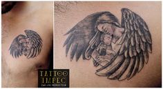 # Mother & Child Angel Tattoo # <3 ;) Get inked from Experienced Tattoo Professional.. Call: Sunil C K @ +91 9035217218 to book your appointment. www.facebook.com/tattooimpec