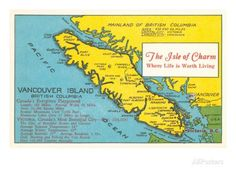 Map of Vancouver Island, British Columbia Art - AllPosters.ca
