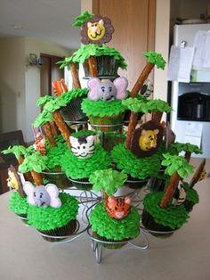 Jungle party cupcake idea