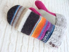 Mittens, bright stripes, upcycled wool