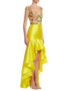 Marchesa Notte Green Embroidered Mikado High-low Dress In Yellow Hi Low Dresses, Sexy Dresses, Prom Dresses, Best Designer Dresses, Indian Designer Outfits, Designer Shoes, Designer Handbags, Chic Outfits, Fashion Outfits