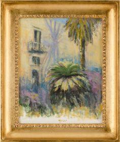 """VINCENZO NUCCI (Sciacca 1941) OLIO su tela """"esterno di villa con palme"""" firmato in basso a destra con dedica nel retro."""