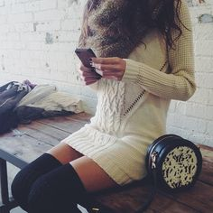 Spotted at the office: Cable-knit bodycon dress + Kelsi Dagger crossbody bag.