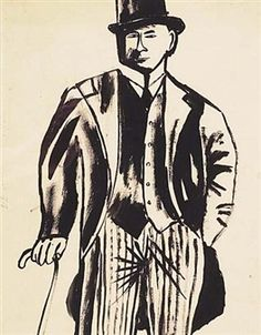 Man in Morning Suit, Top Hat and Cane By Ben Shahn ,Circa  1941
