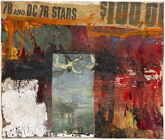 Contemporary artist Robert Rauschenberg, Untitled, The Fulton Street Studio 1953-4. Oil, newspaper, and printed reproduction on canvas 11 5⁄8 x 13 3⁄4 inches Private collection.