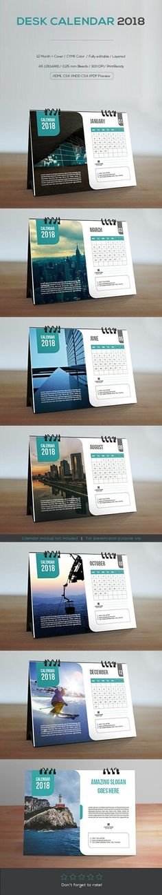Desk Calendar 2018- 12 Months + Cover - Week starts Monday- Size : A5 (210×148 mm) -   #calendars  #calendars2018  #stationery  #DeskCalendar #DeskCalendar2018  #graphicriver  #Print-Templates #PrintTemplates #nature #naturephotography  #Design #Desk #buisness   #sellfy #Selffy