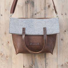 Filztasche oder Ledertasche? Umhängetasche aus Leder und Filz! Messenger bag, Schultertasche, Einkaufstasche, Charakterstück WT0814