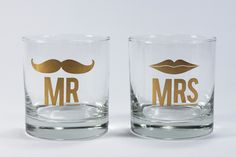 Mr & Mrs cocktail glasses. My go-to house warming, engagement or thank you gift!