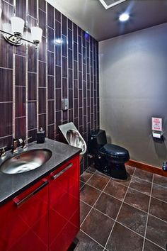 Basement Man Caves bathroom complete with urinal The Bella