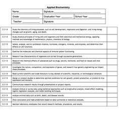 Applied Biochemistry Competencies  Student Evaluation Form