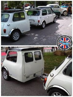 "Mornin Miniacs, it's Towin Tuesday time! We hitch up to a very unusual & very cool ""roof on"" Mini Trailer! Love how they've used the Van/Estate doors for access too. Have a great day folks"