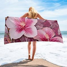 A tropical vibrant look and wrap yourself up with this super soft and cozy all-over sublimation towel. Beach Toys, Hibiscus, Strapless Dress, Towel, Trending Outfits, Unique, Pink, Handmade, Etsy