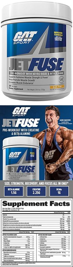 GAT JetFuse Nox Pre-Workout (Exotic Fruit Flavor) With Nitric Oxide & Beta Alanine Supports Explosive Muscle Strength & Power and Help Promote Muscle Growth and Increase Endurance