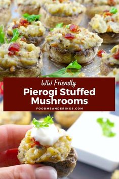 4 reviews · Gluten free · Serves 20 · If you love perogies, you'll love these unique and Easy Pierogi Stuffed Mushrooms! They are quick and easy to make with instant mashed potatoes and can be made vegetarian by simply leaving out the… More Best Appetizer Recipes, Best Appetizers, Party Appetizers, Dinner Recipes, Instant Mashed Potatoes, Leftover Mashed Potatoes, Best Stuffed Mushrooms, Stuffed Peppers, Ukrainian Recipes