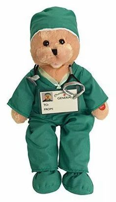 """This fun doctor bear arrives in green or pink scrubs. While 'singing' """"I'll Be There"""", it's mouth moves and its head sways to the music. Measuring 19″, this plush bear comes with 3 AA batteries and includes an on/off switch. Medical Students, Medical School, Anatomy Coloring Book, Nurses Day, Med School, Student Gifts, Nurse Gifts, How To Relieve Stress, Cuddling"""