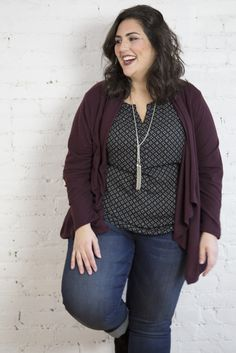 Add a splash of color with a cardigan #plussizefashion