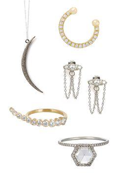 Feathered Soul Necklace, $895; featheredsoul.com Ileana Makri Thread 18-Karat Gold Diamond Nose Ring, $625; net-a-porter.com Catbird Sleeping Beauty Chandelier Earrings, $696; catbirdnyc.com Sophie Bille Brahe 18-Karat Gold Diamond Ring, $6,500; net-a-porter.com MP Mineraux Hexagonal Diamond Ring, $30,810; barneys.com   - Veranda.com