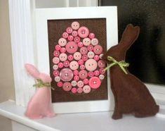 Bastelideen zu Ostern - Bild aus Knöpfen selber machen