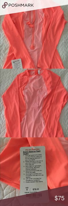 NWT Lululemon rash guard This adorable coral and pink colored Lululemon rash guard is NWT. Stretchy swimsuit material. UPF 50. lululemon athletica Swim Coverups