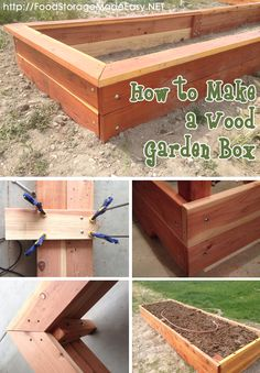 How to Build a Wood Garden Box (via Food Storage Made Easy)  Complete tutorial including pictures to help you make a gorgeous redwood garden box with top rails.