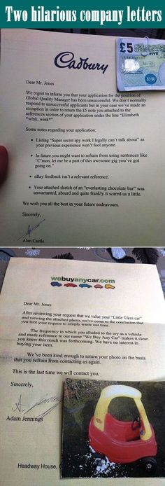 Two hilarious company letters.