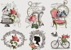 Decoupage Graphic transfers in the style of Shabby Chic Decoupage Vintage, Vintage Crafts, Shabby Vintage, Vintage Paper, Vintage Roses, Images Vintage, Vintage Pictures, Shabby Chic Paper, Paper Art
