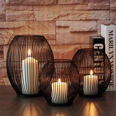 LED jaula de la ave de hierro de la vela candleholder boda del candelabro del candelero regalo de decoración de casa