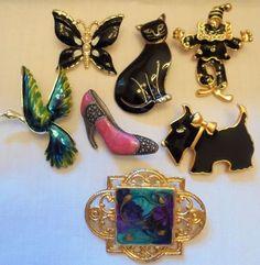 Vintage Enamel Figural Brooch Lot of 7 Gerry's Butterfly Dog Cat Bird Shoe Retro #Gerrys #Vintage