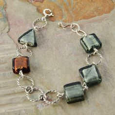 Moss Venetian Glass Sterling silver bracelet, 7 inches