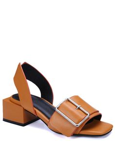 Buckle Solid Color Chunky Heel Sandals