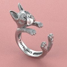 This unique Boston Terrier Ring was created and designed by Steph Alexis.  This Boston Terrier ring is made of 925 sterling silver