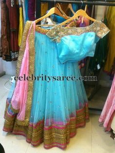 Light Sky Blue Pretty Half Saree | Saree Blouse Patterns