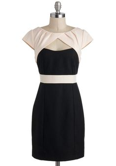 Isn't Sheath Lovely Dress - Short, Black, Tan / Cream, Cutout, Cocktail, Sheath / Shift, Cap Sleeves, Tis the Season Sale