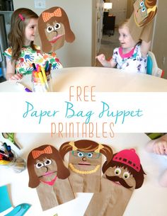 Free Printable Paper Bag Puppets!  So cute!