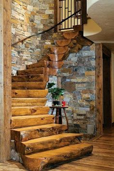 Rustic and log cabin living. Cottage Stairs, Log Cabin Homes, Log Cabins, Rustic Cabins, Rustic Homes, Diy Log Cabin, Log Cabin Plans, Rustic Lake Houses, Barn Houses