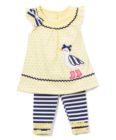 Little lovelies look adorable in this whimsical knitted set featuring playful appliques and stretch-kissed fabric for day-long comfort.Includes tunic and leggingsKnitTop: 100% cottonLeggings: 95% cotton / 5% spandexImported